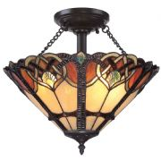 Cambridge 2 Light Large Semi-Flush Fitting in Vintage Bronze and Tiffany Glass - QUOIZEL QZ/CAMBRIDGE/SF